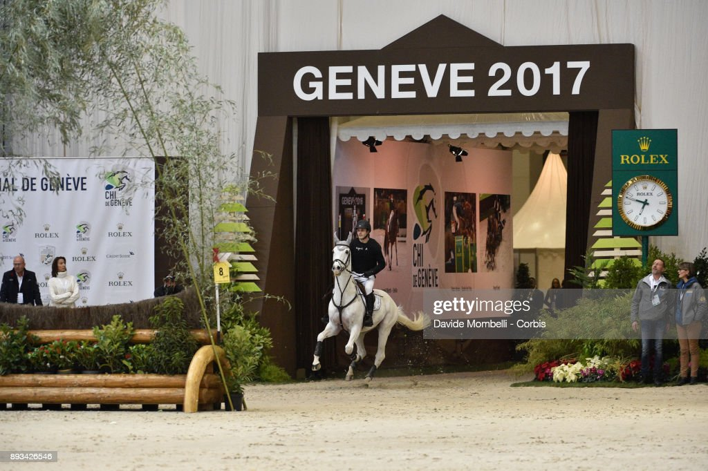 Sidney DUFRESNE of France, riding Looping de Buissy, during the Cross Indoor sponsored by Tribune de Genève , Rolex Grand Slam Geneva 2017