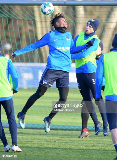 Sidney Friede and Arne Maier of Hertha BSC during the training session at the Schenkendorfplatz on February 6 2018 in Berlin Germany