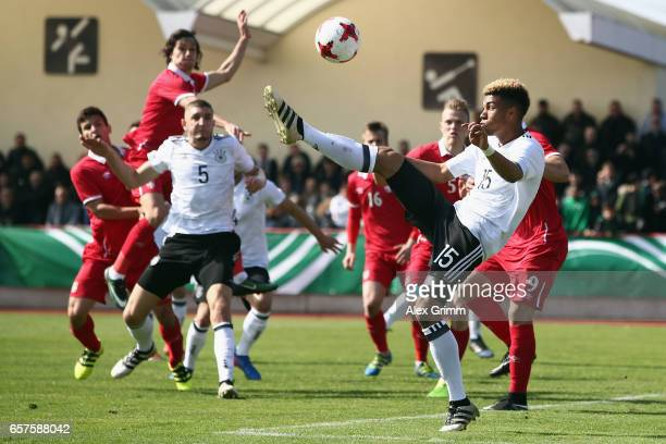 Sidney Friede of Germany kicks the ball during the UEFA Elite Round match between U19 Germany and U19 Serbia at Sportpark on March 25 2017 in...