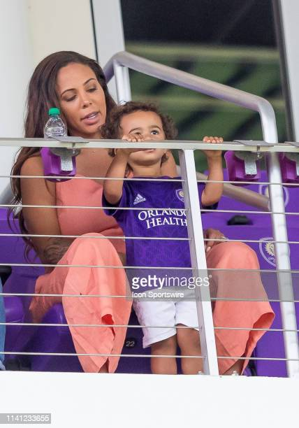 Sidney Leroux and her son watching during the MLS soccer match between the Orlando City SC and Toronto FC on May 4 at Orlando City Stadium in Orlando...