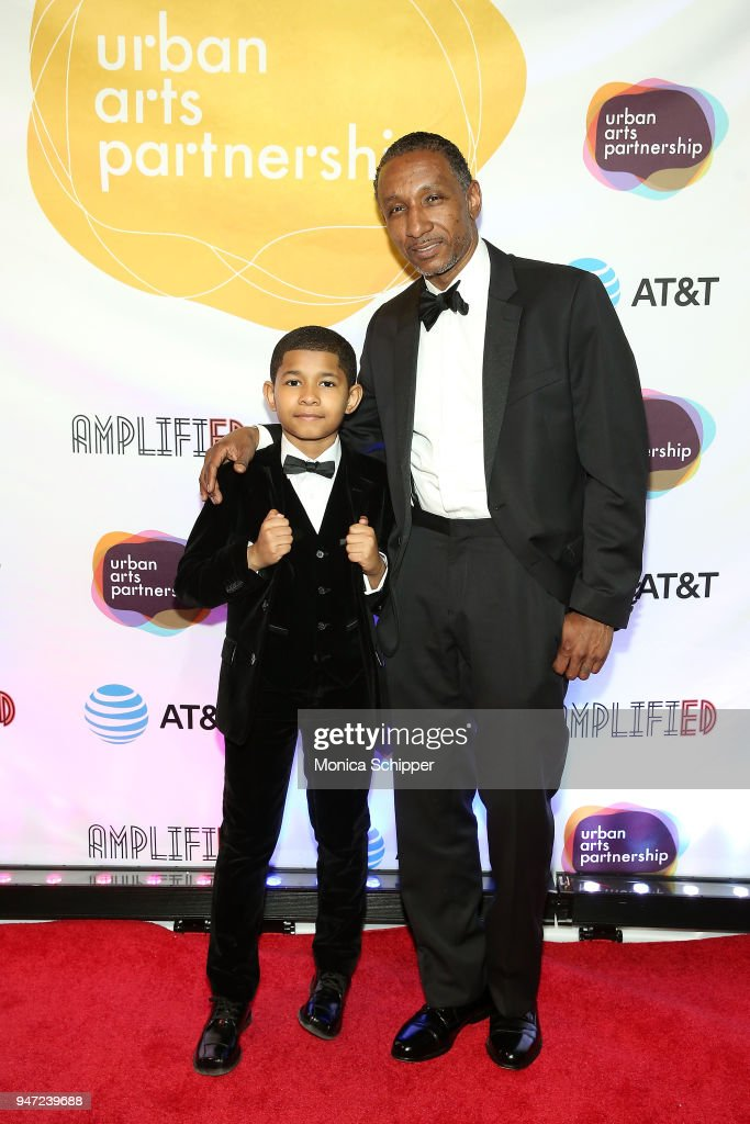 Sidney Max Titus (L) and Dres attend the Urban Arts Partnership's AmplifiED Gala at The Ziegfeld Ballroom on April 16, 2018 in New York City.