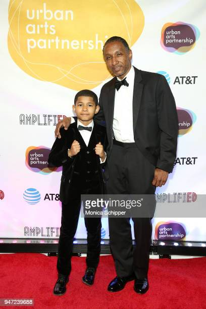 Sidney Max Titus and Dres attend the Urban Arts Partnership's AmplifiED Gala at The Ziegfeld Ballroom on April 16 2018 in New York City