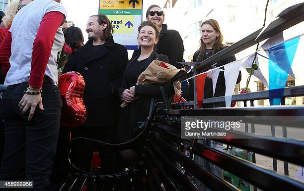Sidney Mayall and Rosie Mayall attend a memorial bench for the late Rik Mayall is unveiled on November 14 2014 in London England