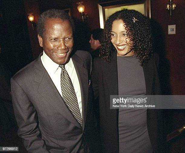 """Sidney Poitier and daughter Anika are on hand for the premiere of the movie """"Beloved."""""""