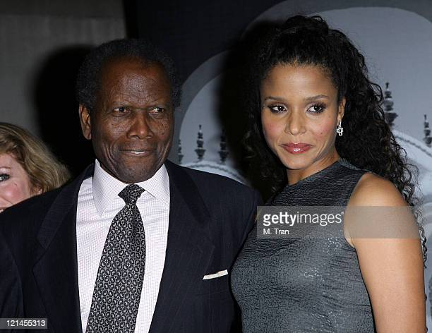Sidney Poitier and daughter during Giorgio Armani Celebrates 2007 Oscars with Exclusive Prive Show at Green Acres Estates in Beverly Hills,...