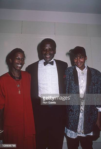 Sidney Poitier and daughters during Film Fund's 1st Annual Benefit Salute Honoring Harry Belafonte at Ziegfeld Theater in New York City, New York,...