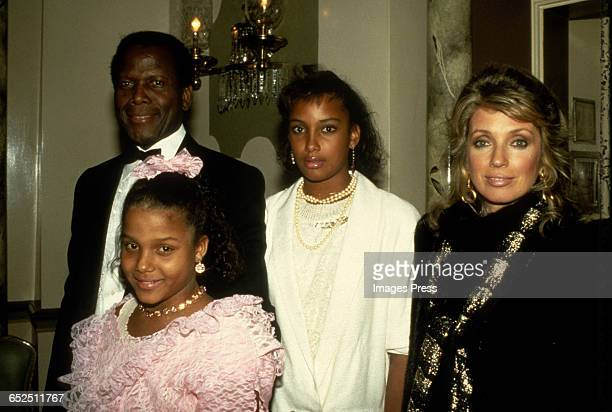 Sidney Poitier and family circa 1982 in New York City