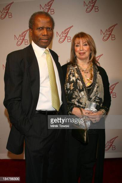 Sidney Poitier and his wife Joanna Shimkus during Celebrate Mary Party Hosted by Jada Pinkett Smith and Will Smith Arrivals at Boulevard 3 in...