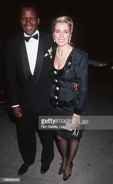 Sidney Poitier and Joanna Shimkus during 1990 Carousel of Hope Ball at Beverly Hilton Hotel in Beverly Hills California United States