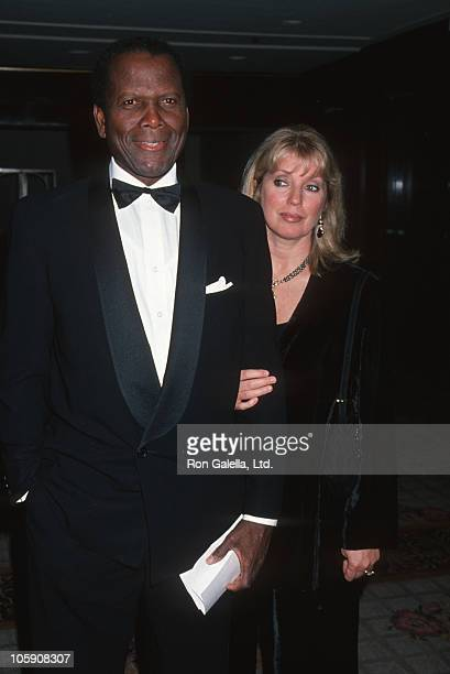 Sidney Poitier and Joanna Shimkus during 8th Annual Genesis Awards Gala at Century Plaza Hotel in Century City California United States