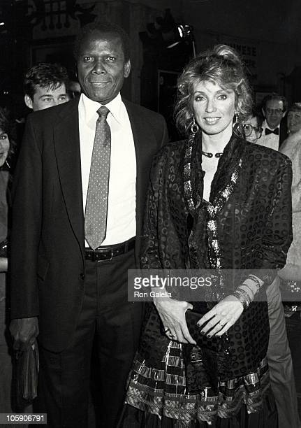 "Sidney Poitier and Joanna Shimkus during ""A Private Function"" Los Angeles Premiere at Mann's Chinese Theater in Hollywood, California, United States."
