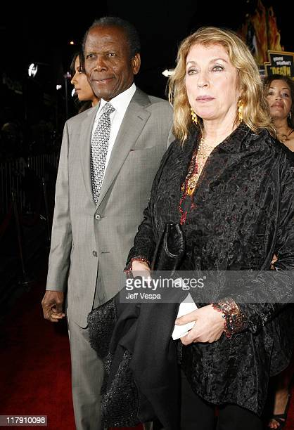 Sidney Poitier and Joanna Shimkus during Grindhouse Los Angeles Premiere Red Carpet at Orpheum Theater in Los Angeles California United States