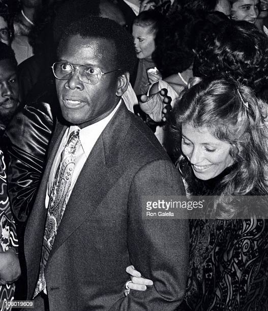 Sidney Poitier and Joanna Shimkus during Let's Do It Again Premiere and Party at New York in New York City New York United States