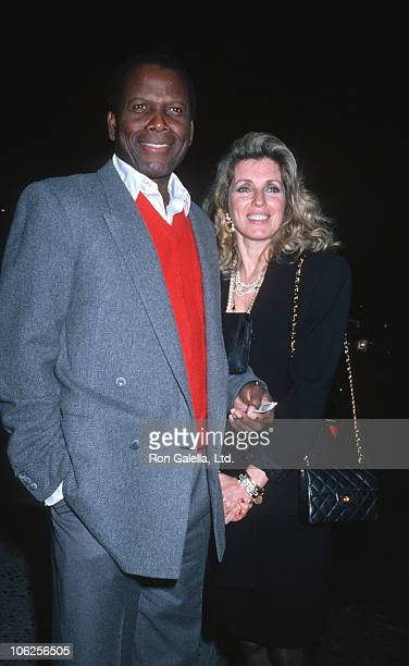 Sidney Poitier and Joanna Shimkus during Sidney Poitier and Joanna Shimkus Sighting at Spago January 13 1989 at Spago in Hollywood California United...