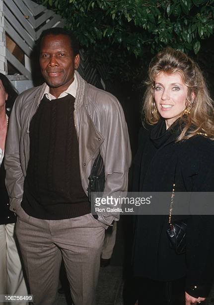 Sidney Poitier and Joanna Shimkus during Sidney Poitier Sighting January 20 1987 at Spago Restaurant in HOllywood California United States