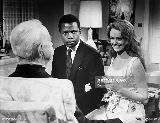Sidney Poitier and Katherine Houghton in a scene from the movie Guess Who's Coming to Dinner Movie still 1967