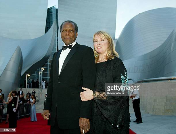 Sidney Poitier and second wife Joanna Shimkus attend the Walt Disney Concert Hall opening gala, day one of three, October 23, 2003 in Los Angeles,...