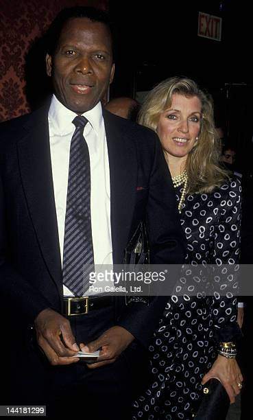 Sidney Poitier and wife Joanna Shimkus attend ACLU Benefit Gala on September 17 1987 at the Beverly Wilshire Hotel in Beverly Hills California