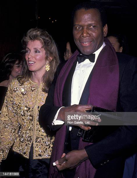 Sidney Poitier and wife Joanna Shimkus attend American Museum of the Moving Image Tribute Honoring Sidney Poitier on February 28 1989 at the Waldorf...