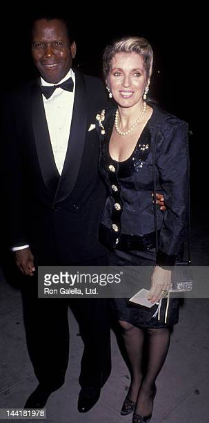 Sidney Poitier and wife Joanna Shimkus attend Carousel of Hope Ball Benefit on October 26 1990 at the Beverly Hilton Hotel in Beverly Hills California