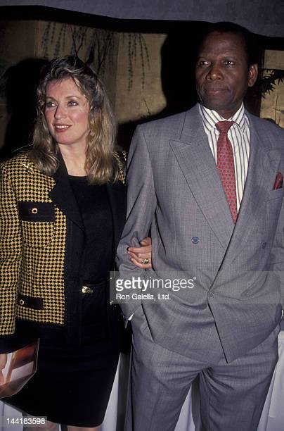 Sidney Poitier and wife Joanna Shimkus attend Education First Kickoff Party on February 10 1992 at the Nikko Hotel in Los Angeles California