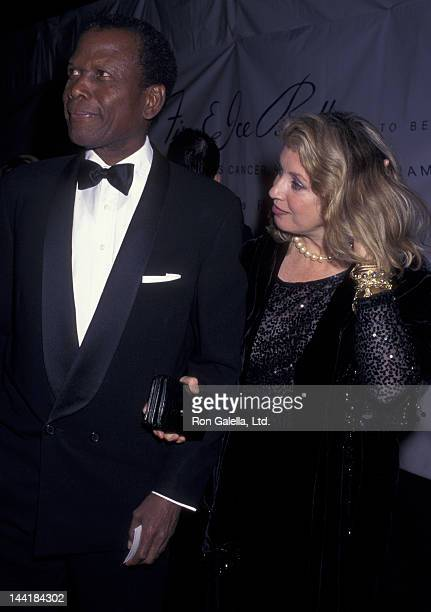 Sidney Poitier and wife Joanna Shimkus attend Eighth Annual Fire and Ice Ball Benefit on December 3 1997 at Paramount Studios in Hollywood California