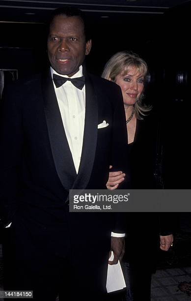 Sidney Poitier and wife Joanna Shimkus attend Eighth Annual Genesis Awards Gala on March 12 1994 at the Century Plaza Hotel in Century City California