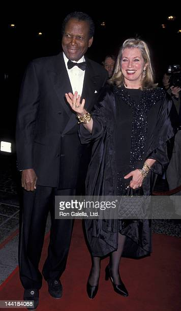 Sidney Poitier and wife Joanna Shimkus attend Fifth Annual Stars of Tomorrow Benefit Gala on November 18 1999 at the Regent Beverly Wilshire Hotel in...