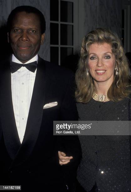 Sidney Poitier and wife Joanna Shimkus attend Nelson Mandella Awards Gala on April 1 1990 at the Beverly Wilshire Hotel in Beverly Hills California