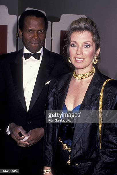 Sidney Poitier and wife Joanna Shimkus attend Scopus Awards Gala on January 15 1989 at the Beverly Hilton Hotel in Beverly Hills California