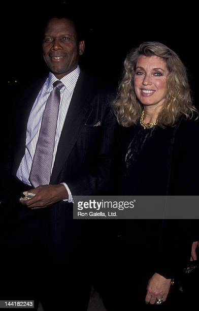 Sidney Poitier and wife Joanna Shimkus attend Scott Newman Center Benefit Gala Honoring George Schlatter on November 1 1992 at the Beverly Hilton...