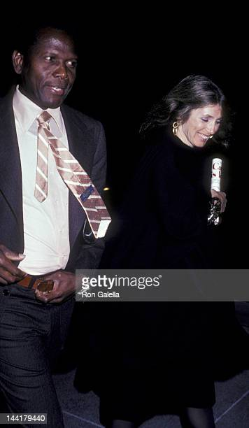Sidney Poitier and wife Joanna Shimkus attend the opening of The West Side Waltz on January 23 1981 at the Ahmanson Theater in New York City