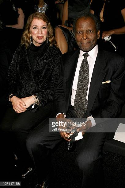 Sidney Poitier and wife Joanna Shimkus during Giorgio Armani Prive in LA Front Row at Green Acres in Los Angeles California United States