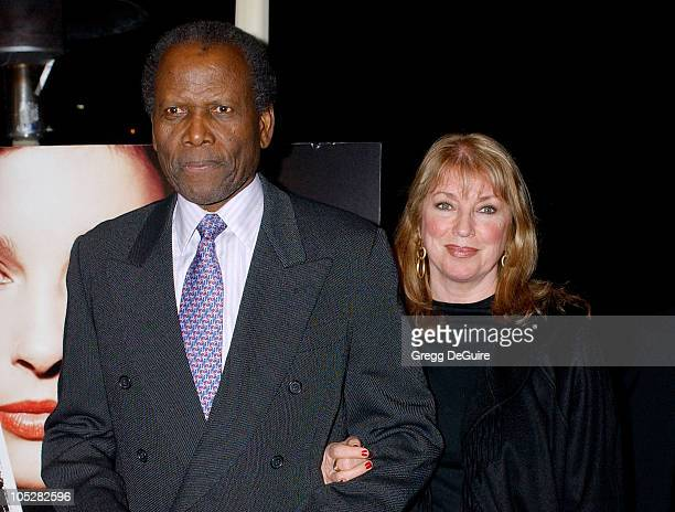 Sidney Poitier and wife Joanna Shimkus during Twisted Premiere at Paramount Studios in Los Angeles California United States