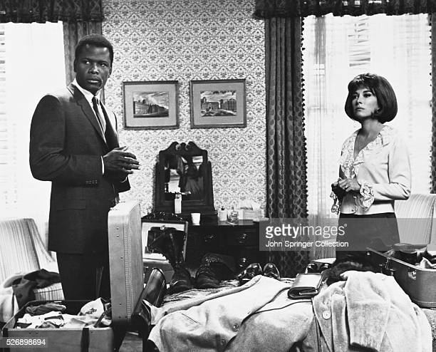 Sidney Poitier as police detective Virgil Tibbs and Lee Grant as Leslie Colbert in the 1967 film In the Heat of the Night.
