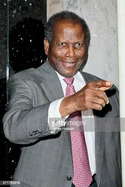 Sidney Poitier attends 'Motown The Musical' opening night at the Pantages Theatre on April 30 2015 in Hollywood California