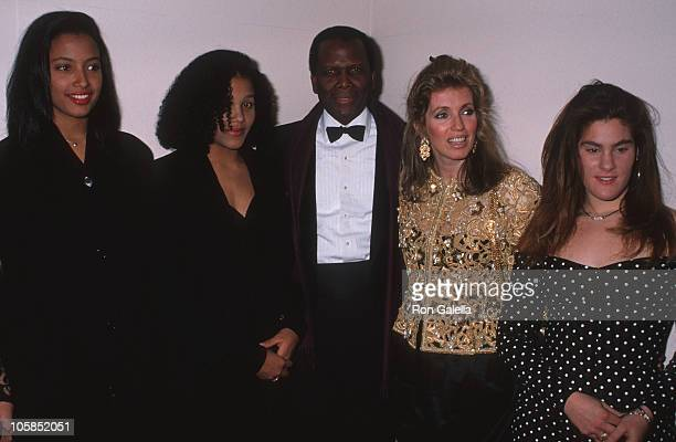 Sidney Poitier, daughters, Joanna Shimkus and guest