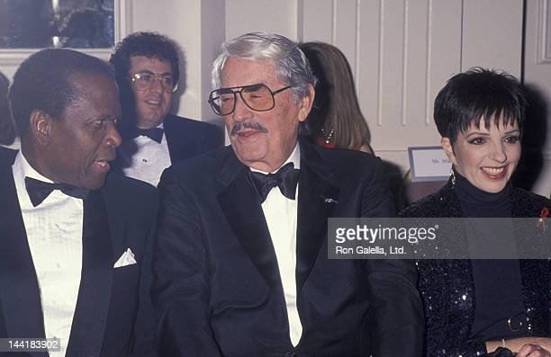 Sidney Poitier Gregory Peck and Liza Minnelli attend Sheba Humanitarian Awards Gala Honoring Liza Minnelli on January 26 1993 at the Beverly Hilton...