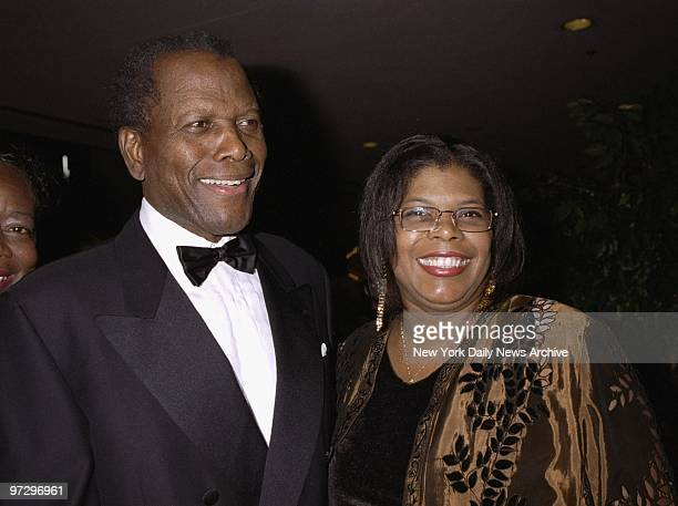 Sidney Poitier is joined by his daughter, Beverly, at a University of the West Indies gala honoring Poitier at the Marriott Marquis Hotel.