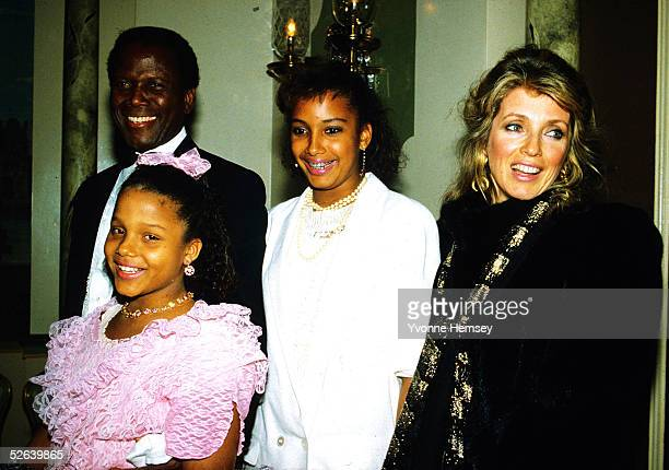 Sidney Poitier is photographed August 3, 1982 with his wife Joanna Shimkus and daughters Anika and Sydney Tamiia in New York City.