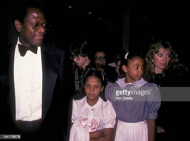 """Sidney Poitier, wife Joanna Shimkus and daughters attend the opening of """"Dreamgirls"""" on March 20, 1983 at the Shubert Theater in Century City,..."""