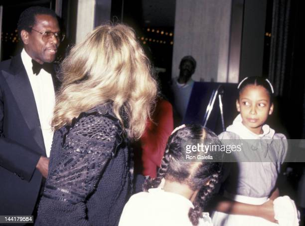 Sidney Poitier wife Joanna Shimkus and daughters attend the opening of Dreamgirls on March 20 1983 at the Shubert Theater in Century City California