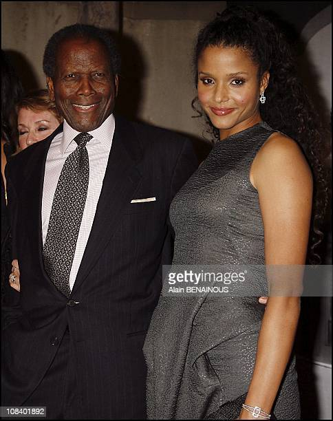 Sidney Poitier with his daughter in Los Angeles, on February 24, 2007.