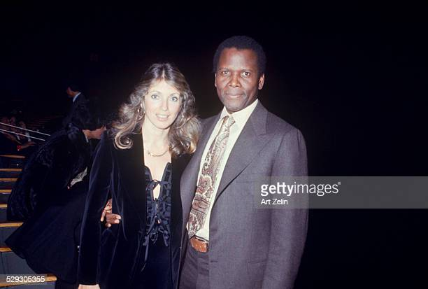 Sidney Poitier with his wife Joanna Shimkuss circa 1970 New York