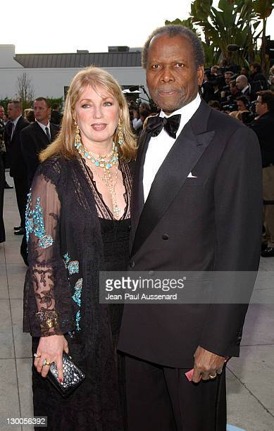 Sidney Poitier with wife Joanna Shimkus during 2004 Vanity Fair Oscar Party Arrivals at Mortons in Beverly Hills California United States