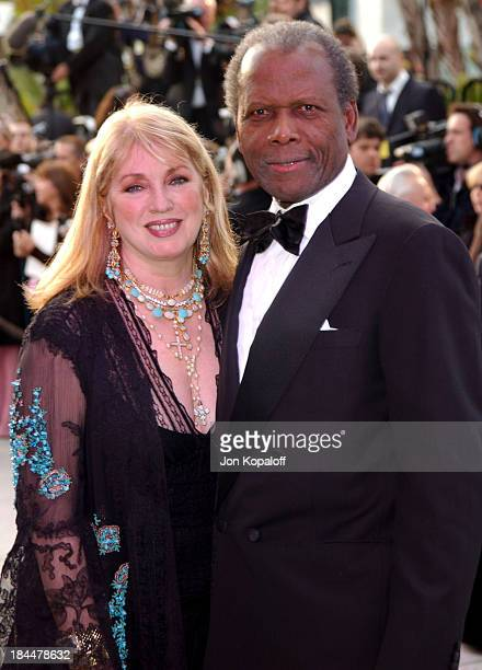 Sidney Poitier with wife Joanna Shimkus during 2004 Vanity Fair Oscar Party at Mortons in Beverly Hills, California, United States.