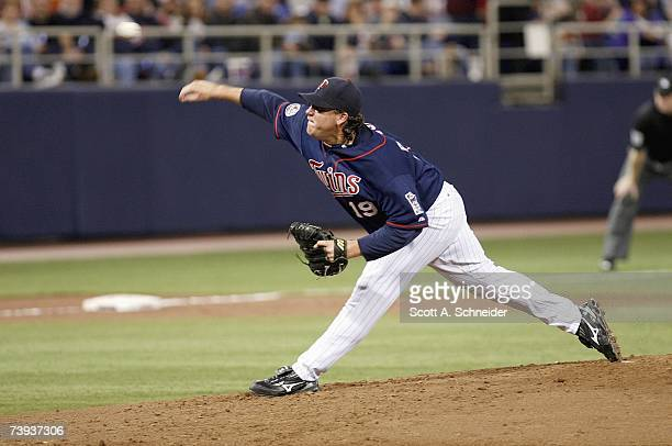 Sidney Ponson of the Minnesota Twins delivers the pitch against the Tampa Bay Devil Rays on April 14 2007 at the Metrodome in Minneapolis Minnesota
