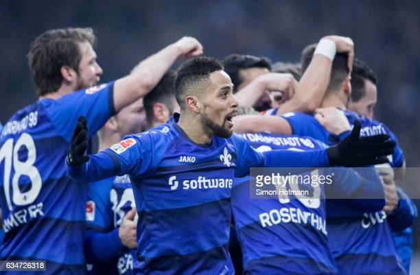 Sidney Sam of Darmstadt celebrates his team's second goal with his team mates during the Bundesliga match between SV Darmstadt 98 and Borussia...