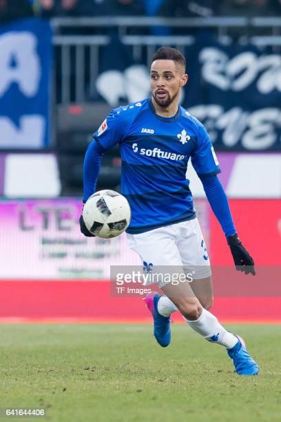 Sidney Sam of Darmstadt controls the ball during the Bundesliga match between SV Darmstadt 98 and Borussia Dortmund at Jonathan Heimes Stadion am...