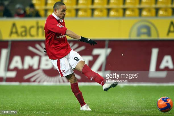 Sidney Sam of Kaiserslautern scores the first goal during the Second Bundesliga match between Alemannia Aachen and 1. FC Kaiserslautern at the Tivoli...